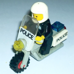Lego retro 1983 grey police motorcycle with rider complete @sold@